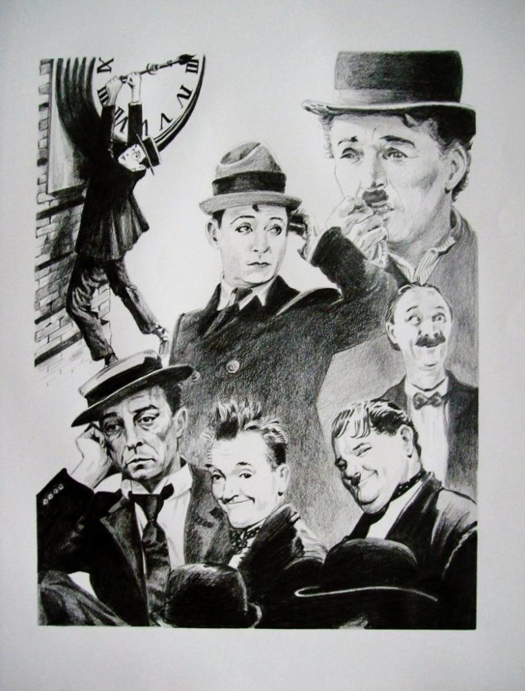 Harold Lloyd, Harry Langdon, Charlie Chaplin, Buster Keaton, Stan Laurel, Oliver Hardy, Ben Turpin par Tom-Heyburn
